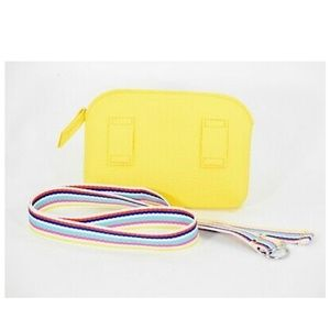 Bright Sun Yellow Fanny Pack With Rainbow Strap No